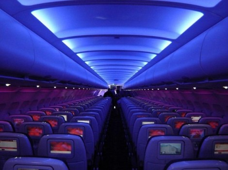 Plane Virgin on Virgin America Airline Interior Plane Purple Glow 588x441